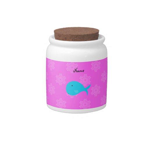 Copos de nieve conocidos personalizados del rosa d platos para caramelos