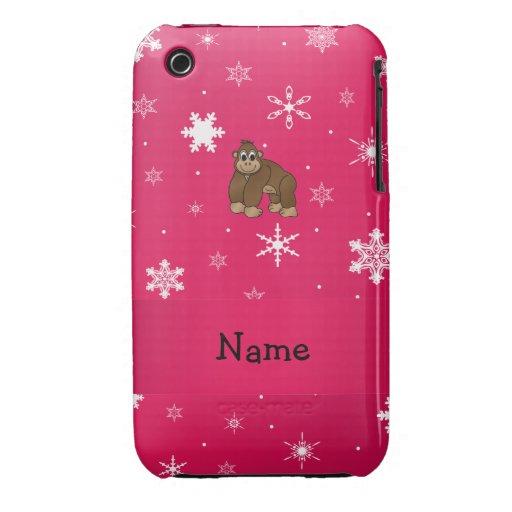 Copos de nieve conocidos personalizados del rosa d iPhone 3 Case-Mate cárcasas