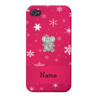 Copos de nieve conocidos personalizados del rosa d iPhone 4 coberturas