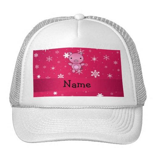 Copos de nieve conocidos personalizados del rosa d gorro de camionero