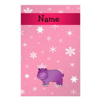Copos de nieve conocidos personalizados del rosa d papelería de diseño