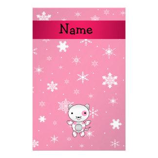 Copos de nieve conocidos personalizados del rosa d papelería personalizada
