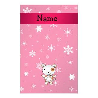 Copos de nieve conocidos personalizados del rosa d personalized stationery