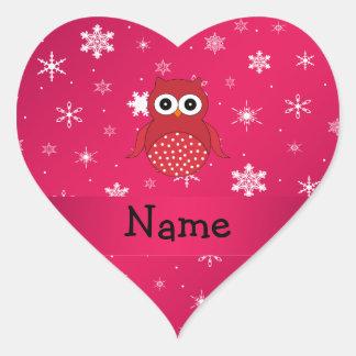 Copos de nieve conocidos personalizados del rosa d pegatina de corazón personalizadas