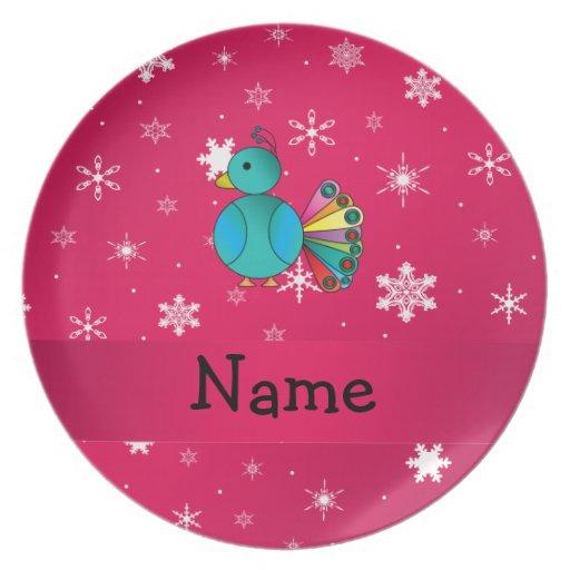 Copos de nieve conocidos personalizados del rosa d plato
