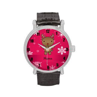 Copos de nieve conocidos personalizados del rosa d reloj