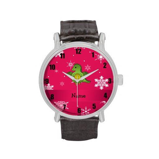 Copos de nieve conocidos personalizados del rosa d relojes de mano