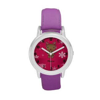 Copos de nieve conocidos personalizados del rosa d relojes de pulsera