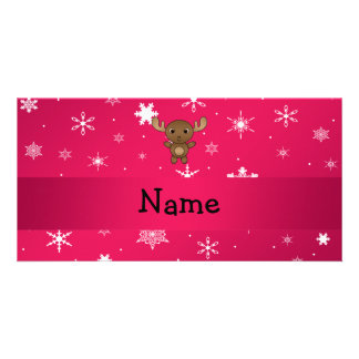 Copos de nieve conocidos personalizados del rosa d tarjeta personal con foto