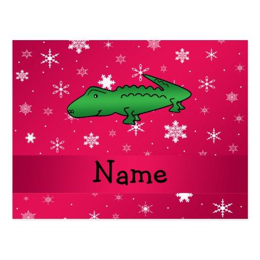 Copos de nieve conocidos personalizados del rosa d tarjetas postales