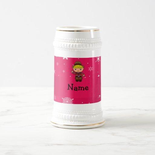 Copos de nieve conocidos personalizados del rosa d tazas
