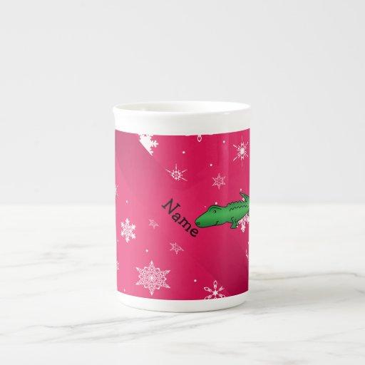 Copos de nieve conocidos personalizados del rosa d taza de porcelana