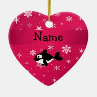 Copos de nieve conocidos personalizados del rosa adorno de cerámica en forma de corazón
