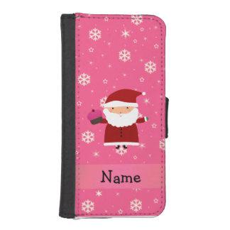 Copos de nieve conocidos personalizados del rosa funda cartera para teléfono