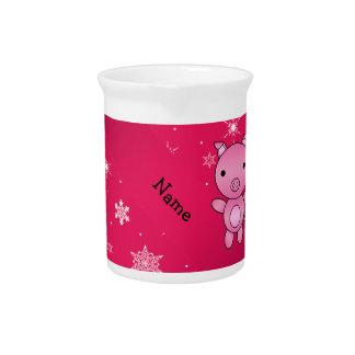 Copos de nieve conocidos personalizados del rosa jarras