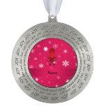 Copos de nieve conocidos personalizados del rosa adorno redondo de peltre