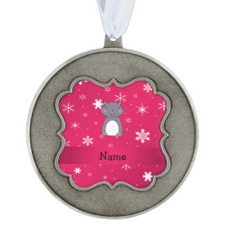 Copos de nieve conocidos personalizados del rosa adorno ondulado
