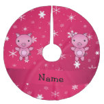 Copos de nieve conocidos personalizados del rosa falda de árbol de navidad de poliéster