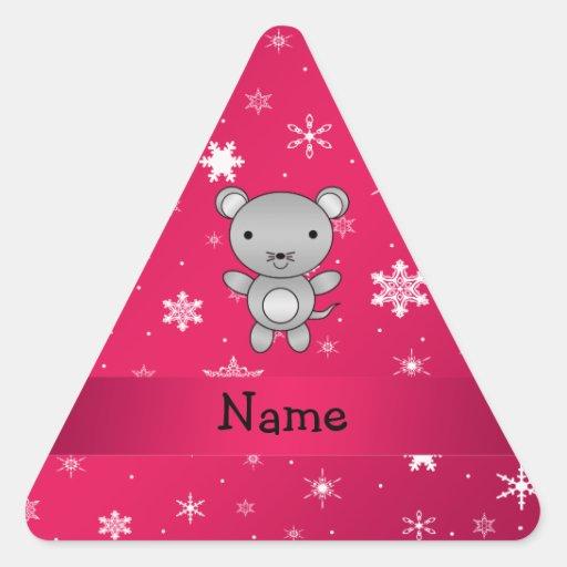 Copos de nieve conocidos personalizados del rosa pegatina triangular