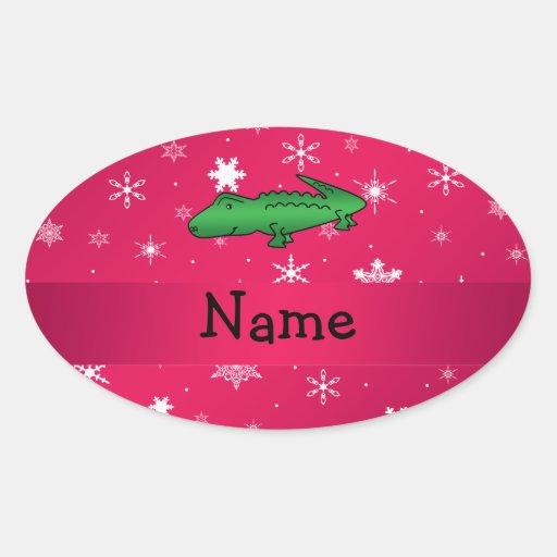 Copos de nieve conocidos personalizados del rosa calcomanía óval personalizadas