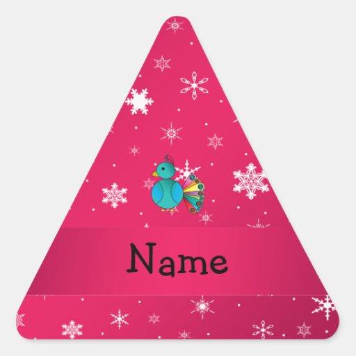 Copos de nieve conocidos personalizados del rosa calcomania trianguladas personalizadas