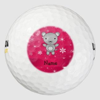Copos de nieve conocidos personalizados del rosa pack de pelotas de golf