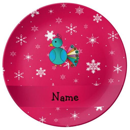Copos de nieve conocidos personalizados del rosa plato de cerámica