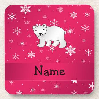 Copos de nieve conocidos personalizados del rosa posavasos de bebidas