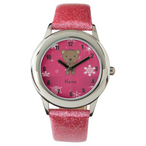 Copos de nieve conocidos personalizados del rosa reloj