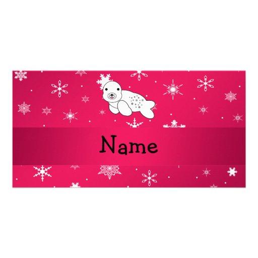 Copos de nieve conocidos personalizados del rosa tarjetas personales