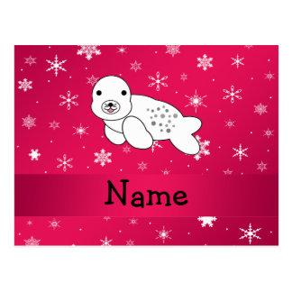Copos de nieve conocidos personalizados del rosa tarjeta postal