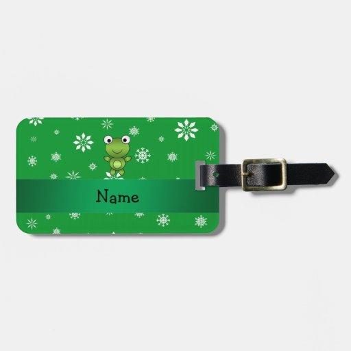 Copos de nieve conocidos personalizados del verde  etiquetas para equipaje