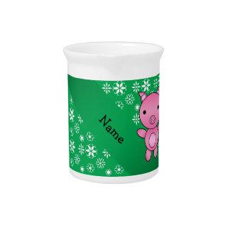 Copos de nieve conocidos personalizados del verde jarrón