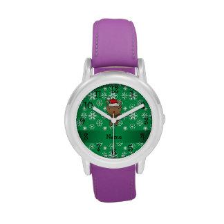 Copos de nieve conocidos personalizados del verde  relojes de pulsera