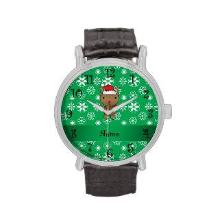 Copos de nieve conocidos personalizados del verde  reloj de mano
