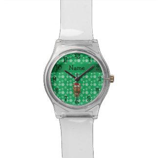 Copos de nieve conocidos personalizados del verde  reloj