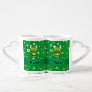 Copos de nieve conocidos personalizados del verde taza amorosa