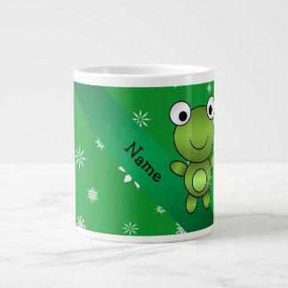 Copos de nieve conocidos personalizados del verde taza grande
