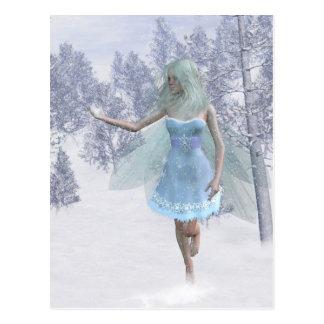 Copos de nieve de cogida de hadas del invierno frí tarjeta postal