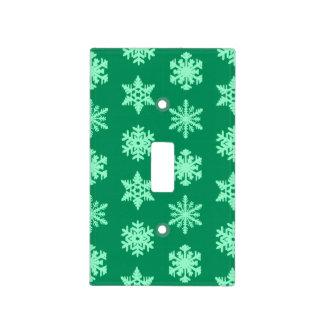 Copos de nieve de Ikat - pino y verde menta Placa Para Interruptor