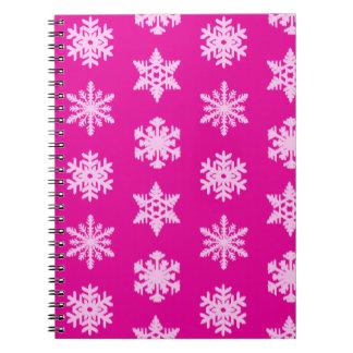 Copos de nieve de Ikat - rosa del fucsia y del Libro De Apuntes Con Espiral