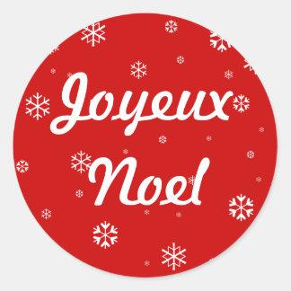 Copos de nieve de Joyeux Noel Pegatina Redonda