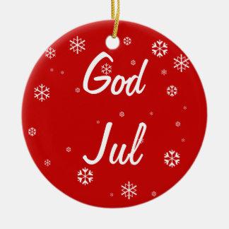 Copos de nieve de julio de dios adorno navideño redondo de cerámica