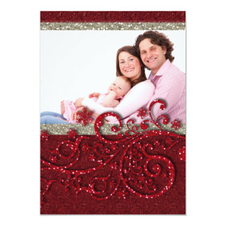 """Copos de nieve de la chispa rojos en tarjeta de invitación 5"""" x 7"""""""
