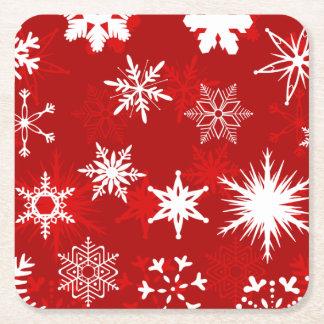 Copos de nieve de la estación del navidad posavasos de cartón cuadrado