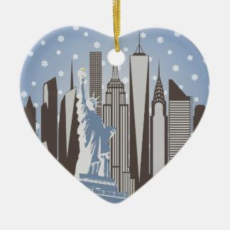 Copos de nieve de NYC Adorno Navideño De Cerámica En Forma De Corazón