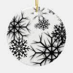Copos de nieve de PixDezines blancos + Negro Ornaments Para Arbol De Navidad