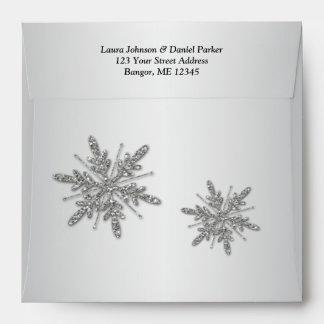 Copos de nieve de plata cuadrados del brillo y sob
