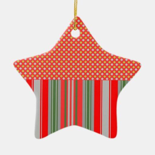 Copos de nieve de plata del oro en rayas rojas adorno de cerámica en forma de estrella