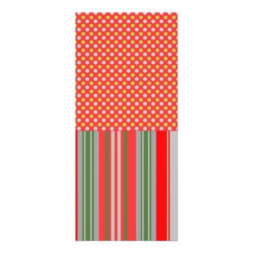 Copos de nieve de plata del oro en rayas rojas tarjeta publicitaria personalizada